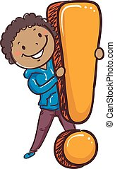 Black Stick Boy Holding a Big Exclamation Point - Vector...