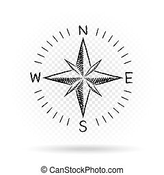 drawing compass directions dark - Drawing black color...