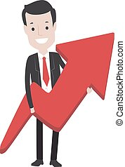 Business Man holding a Red Arrow Up