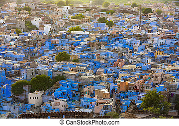 Jodhpur the blue city in Rajasthan state in India. View from...