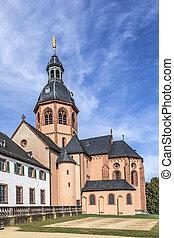 famous benedictine cloister in Seligenstadt, Germany under...