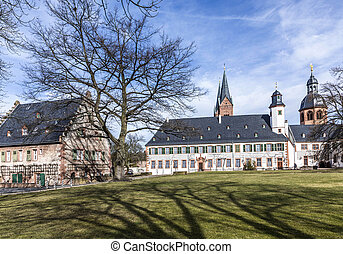 famous benedictine cloister in Seligenstadt, Germany under...