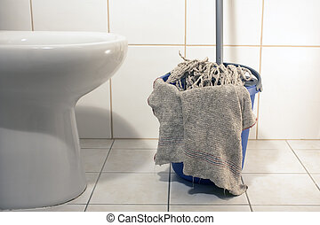 Cleaning the toilet with rag, mop and bucket
