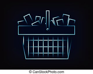 shopping cart full of products vector