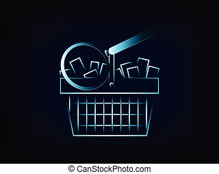 shopping cart with magnifying glass vector - vector of...