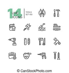 Tools - modern single line icons set - Tools - modern vector...