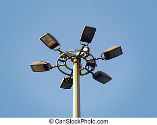 Street Lamps - Big streetlamp with 6 lamps against a blue...