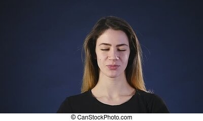 young woman portrait with pleasure emotions on face