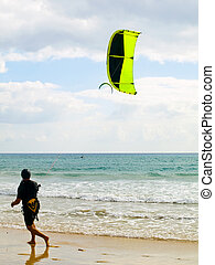 Kite Surfer - Kite surfer in the beaches of Fuerteventura,...