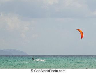 Kite Surfer in Fuerteventura, Spain