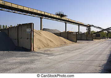 Sandpit - Steel constructions and sand heaps at a sandpit...