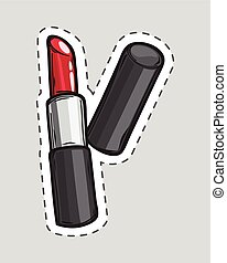 Red lipstick patch. Cut it out. Cosmetic product
