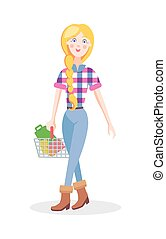 Girl with Shopping Basket Flat Cartoon Vector - Hipster girl...