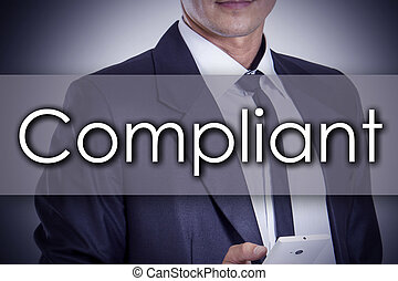 Complaint - Young businessman with text - business concept -...