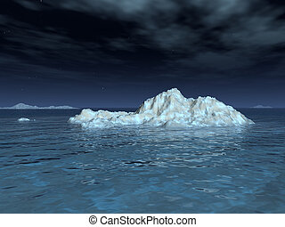 Iceberg in Moonlight - A moonlit iceberg drifts in a calm...
