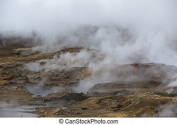 Geothermal Fields of Krafla Iceland - Hot Steam in...