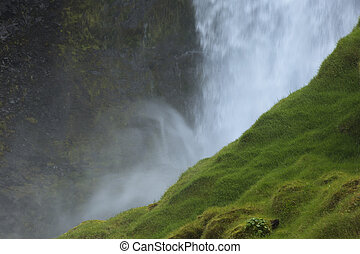Mountain Waterfall in Iceland.