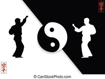 Demonstration of Karate and Japanese hieroglyph..eps