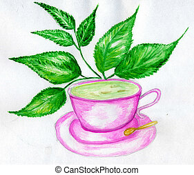 Green Tea Art - Cup of green tea with leaves hand drawn...