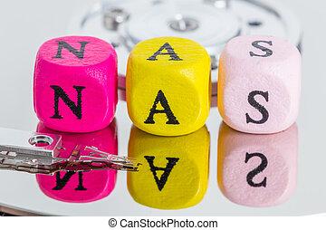 NAS letter cubes on harddisk concept.