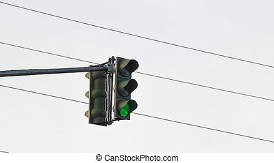 Traffic light in city
