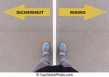 Sicherheit / Risiko German text for safety and risk on...