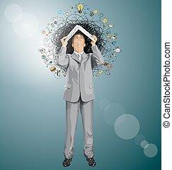 Businessman Looking Upwards - Vector idea concept with...