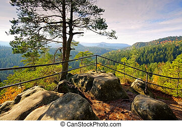 viewpoint Kleinsteinaussicht in Elbe Sandstone Mountains,...