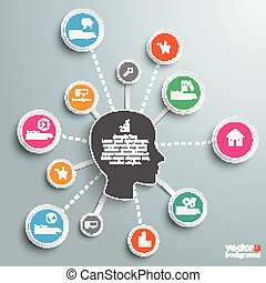 Infographic Network Human Head - Infographic design with...