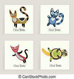 Four square cards. Hand drawn funny March cats. Artistic background with cute kittens. I love Spring