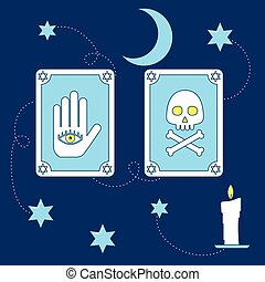 Tarot magical cards. Line design icons of fortune teller