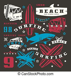 Set of graphic elements. Bus, surfing, shark