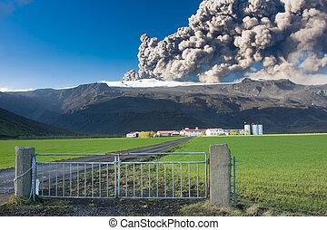 Eyjafjallajokull eruption - Eruption at Eyjafjallajokull...