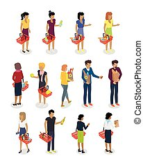 Shopping People Isometric Characters Vector Set - Shopping...