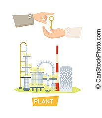 Hand Passing Key. Process of Buying Plant. Sale - Plant...