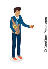 Man with Paper Bag Buying Daily Products Vector - Man with...