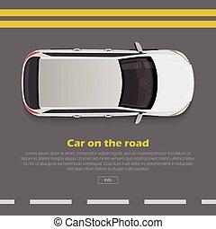 Car on Road Conceptual Flat Vector Web Banner
