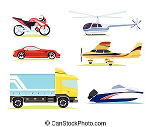 Means of Transportation. Collection of Pictures - Collection...