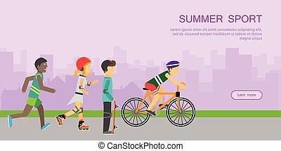 Children Going in for Sport Web Banner Poster. - Summer...