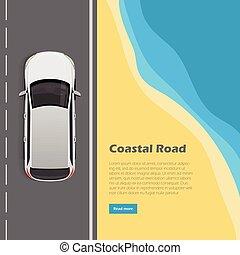 Coastal Road Conceptual Flat Vector Web Banner - Coastal...