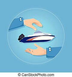 Blue and Orange Speed Motorboat on Blue Background - Speed...