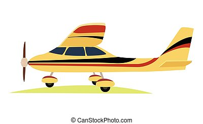 Modern Yellow Aeroplane on White Background. - Modern yellow...