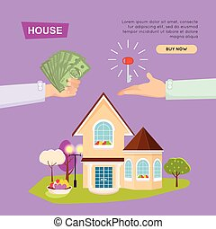 Buying House Online. Property Selling. Web Banner. - Buying...