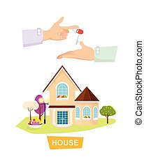 New House on White Background. Property Selling. - New...