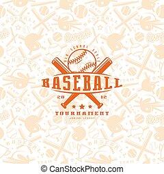 Baseball seamless pattern and emblem