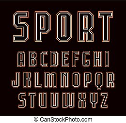 Contour sanserif font in sport style. Design for titles and...