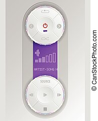 Compact audio control panel with purple lcd