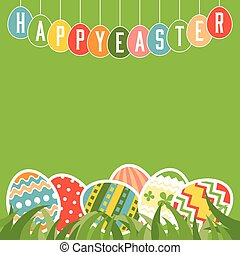 Happy easter in tag and colorful eggs on grasses with space on green background for business, poster, advertising, flat design vector