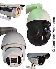 Outdoor CCTV Group of monitoring, security cameras  isolated.
