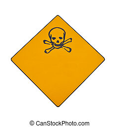 Skull and crossbones warning sign isolated on white with...